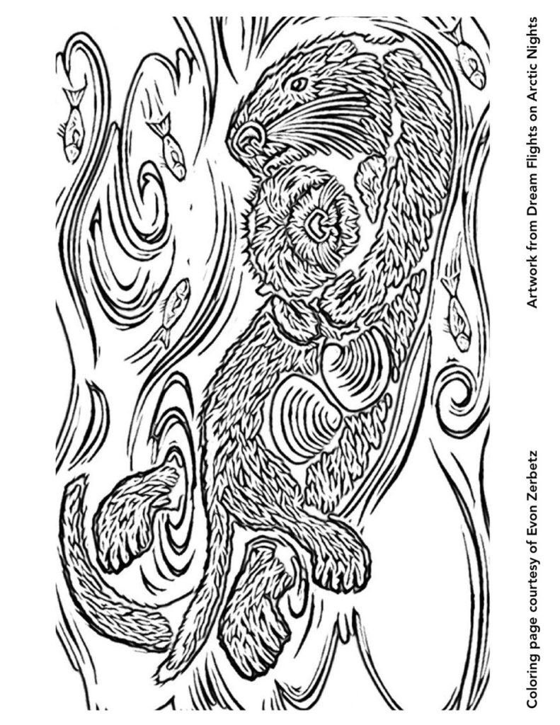Dream Flights on Arctic Nights Coloring Page Otters