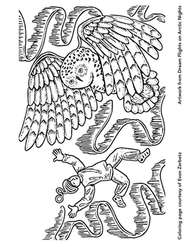 Dream Flights on Arctic Nights Coloring Page Owl & Child